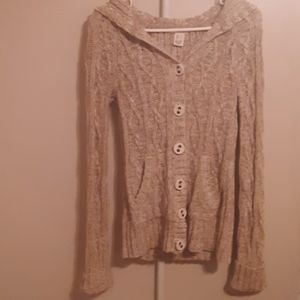 GORGEOUS DKNY CHUNKY CABLE KNIT HOODED CARDIGAN S